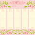 Weekly schedule with vintage flower design