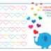 Elephant and rainbow hearts reward chart