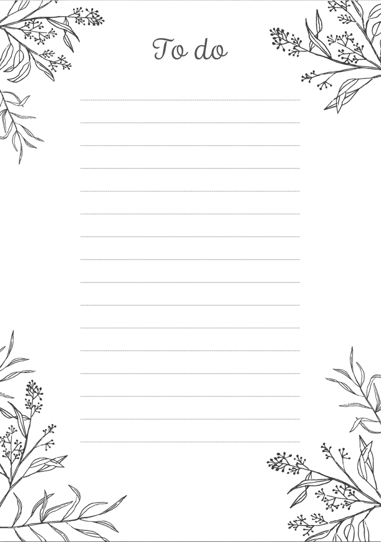 image regarding Cute Printable to Do List identified as Extremely and easy black white towards-do record - Absolutely free printable