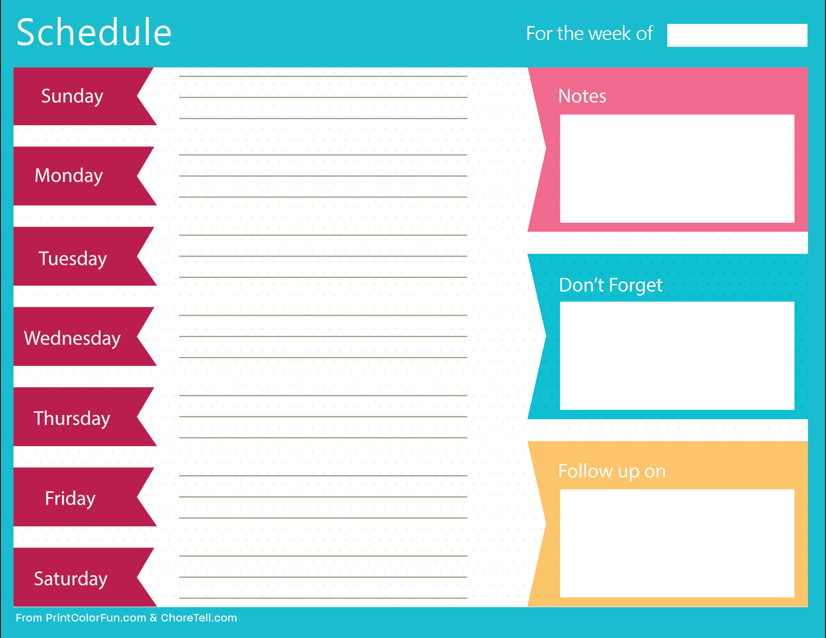 clean bold printable weekly schedule planner free printable