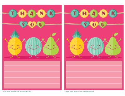Cute fruit thank you note paper for kids