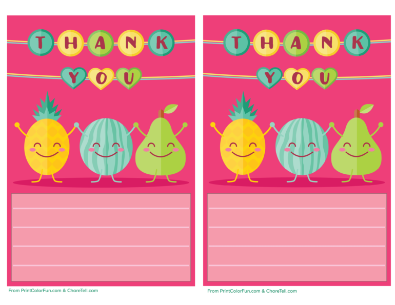 photograph regarding Free Printable Note Paper named Adorable fruit printable thank your self notice paper for young children - Absolutely free