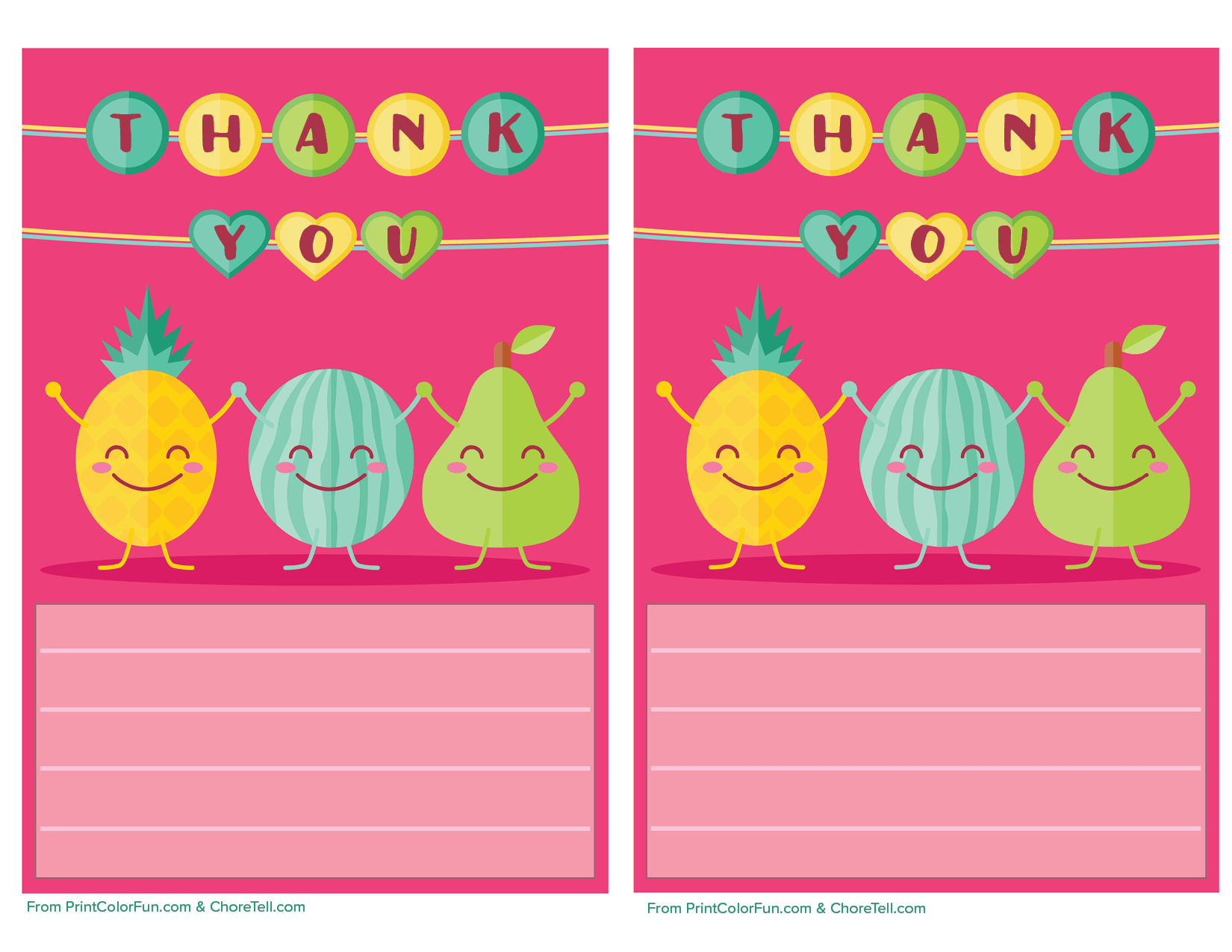 cute fruit printable thank you note paper for kids
