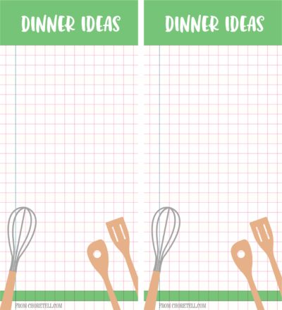 Dinner ideas list - 2 pages