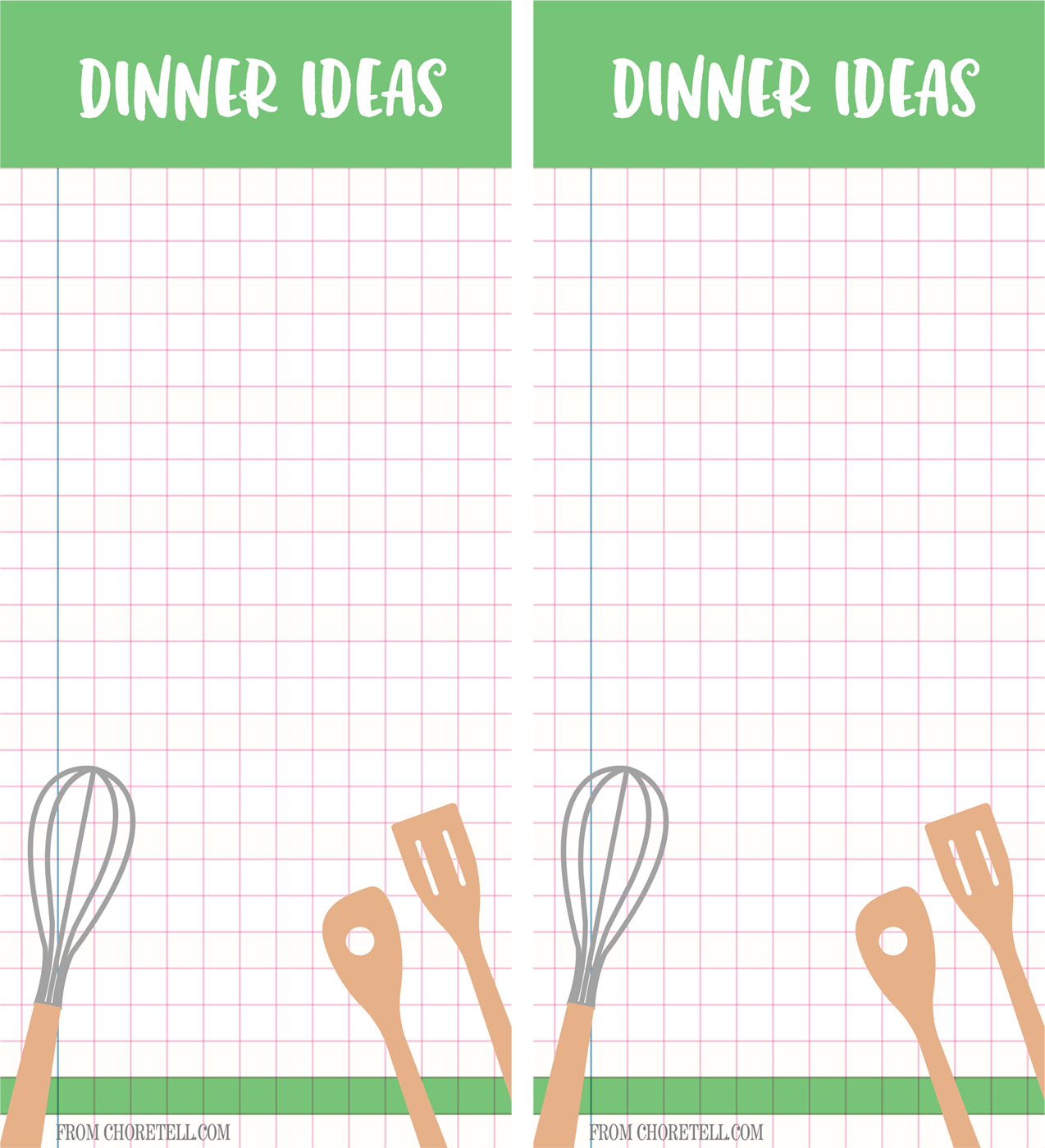 Dinner Ideas Printable List