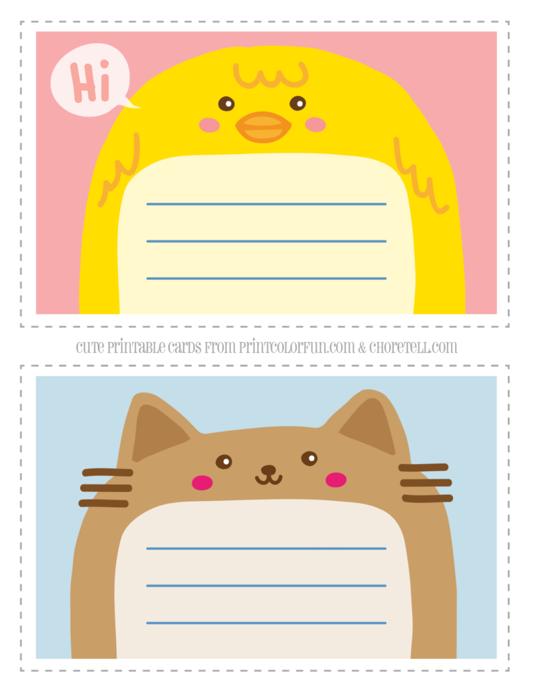 graphic relating to Printable Note Cards titled Lovable animal thank by yourself notecards for children - Free of charge