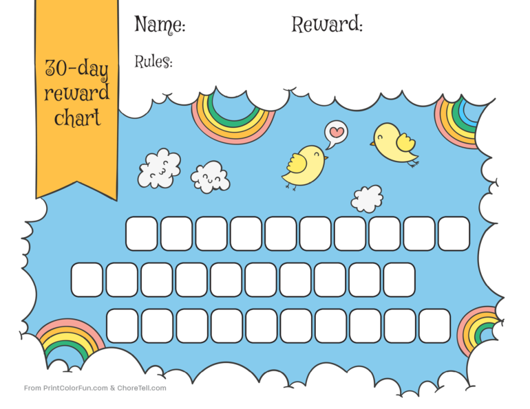 graphic regarding Free Printable Reward Chart titled Rainbow sky 30-working day profit chart for little ones - Cost-free printable
