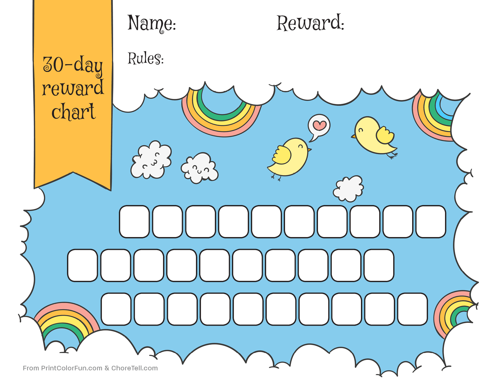 photograph about Printable Rewards Charts identified as Rainbow sky 30-working day gain chart for small children - Absolutely free printable