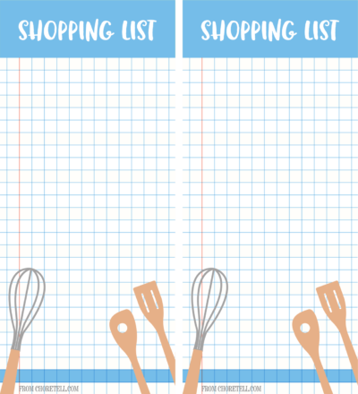 Shopping list - 2 pages