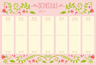 Weekly floral planner