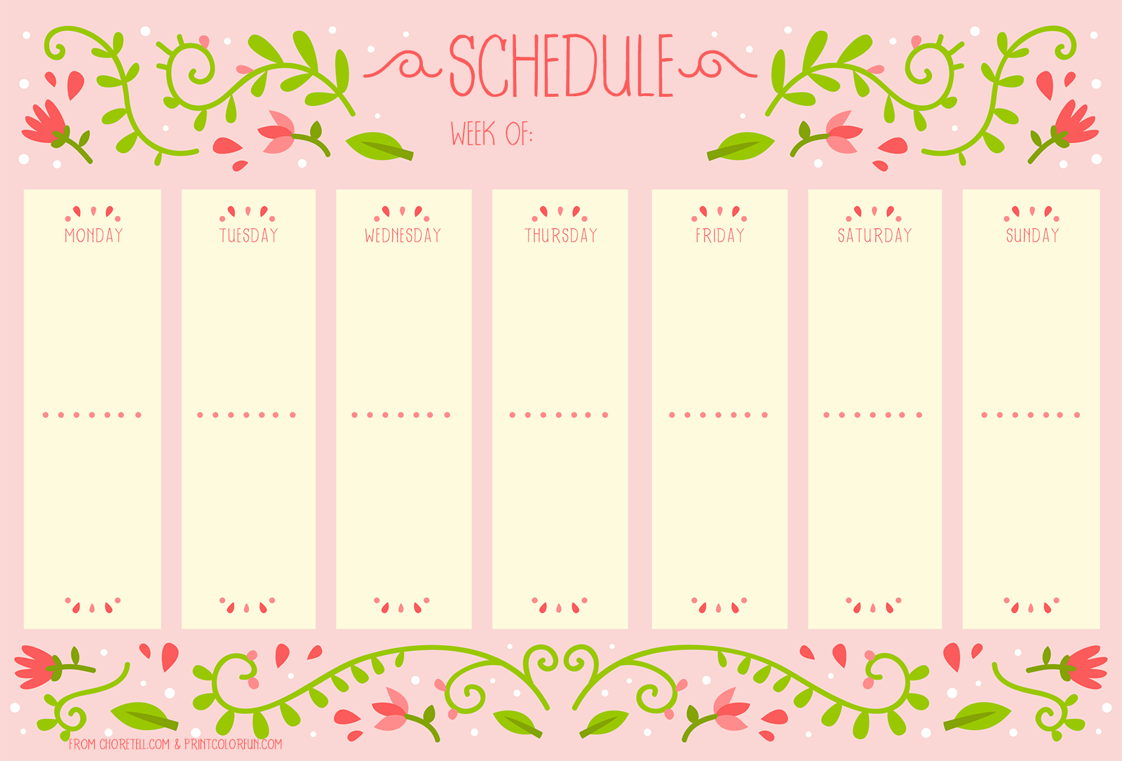 Weekly schedule with vintage flower design free for Planner design