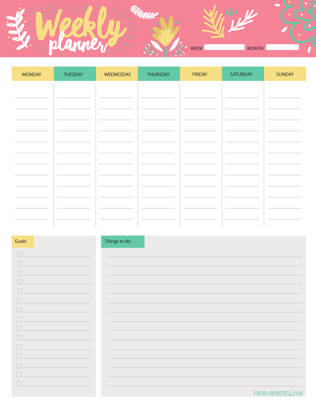 Weekly Calendar With To Do List : Weekly planner to do list free download printable
