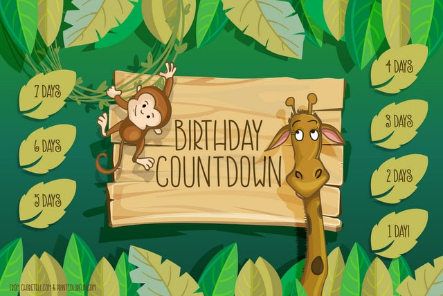 photograph relating to Printable Countdown Chart named Jungle birthday countdown printable - Cost-free printable
