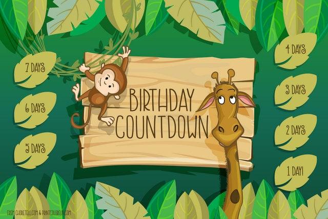 jungle birthday countdown printable