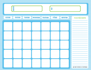 Blank chore calendar, one month, full page, blue on light blue