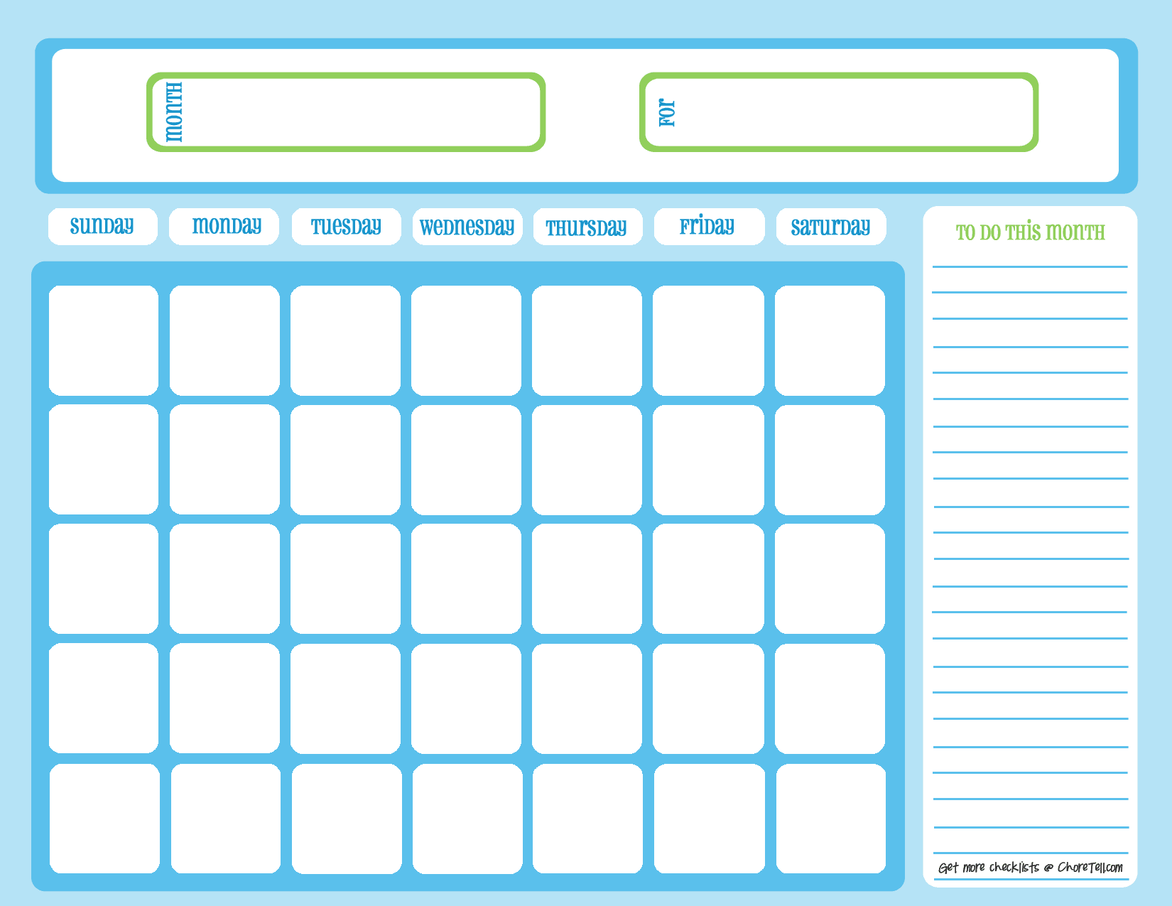 Blank chore calendar, one month, full page, blue on light blue | Free ...