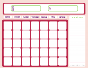 Blank calendar, pink and purple