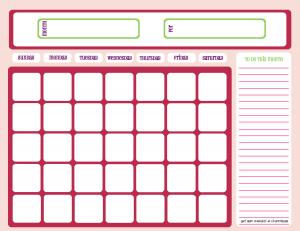 Blank calendar, pink and purple