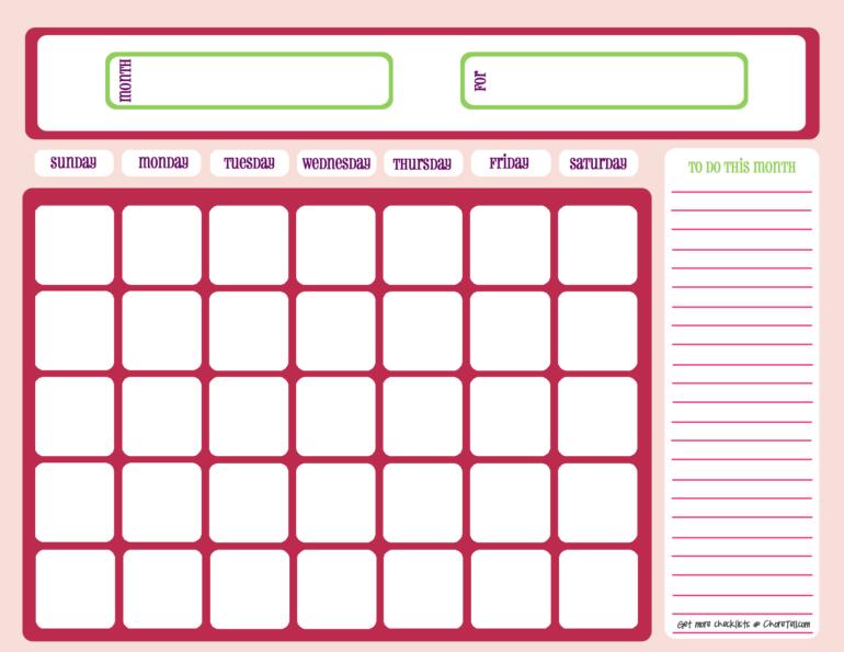 Blank month calendar - pinks - Free printable downloads ...