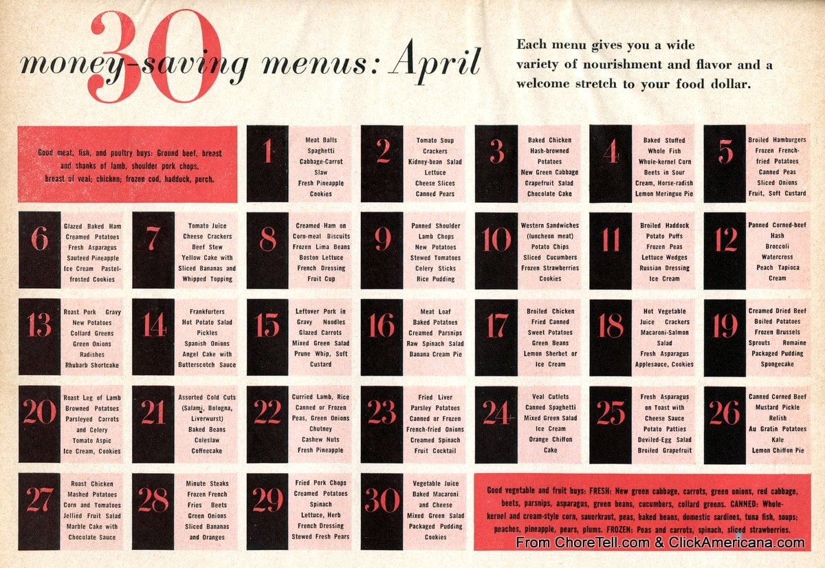 30 days of dinner ideas  april 1958