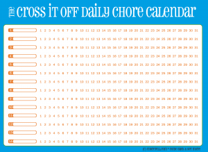 Cross-it-off daily chore calendar, blue with orange