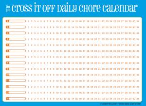 Cross-it-off daily chore calendar, blue with orange