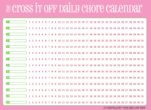Cross-it-off daily chore calendar, pink