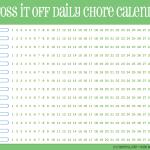 Cross-it-off daily chore calendar, green