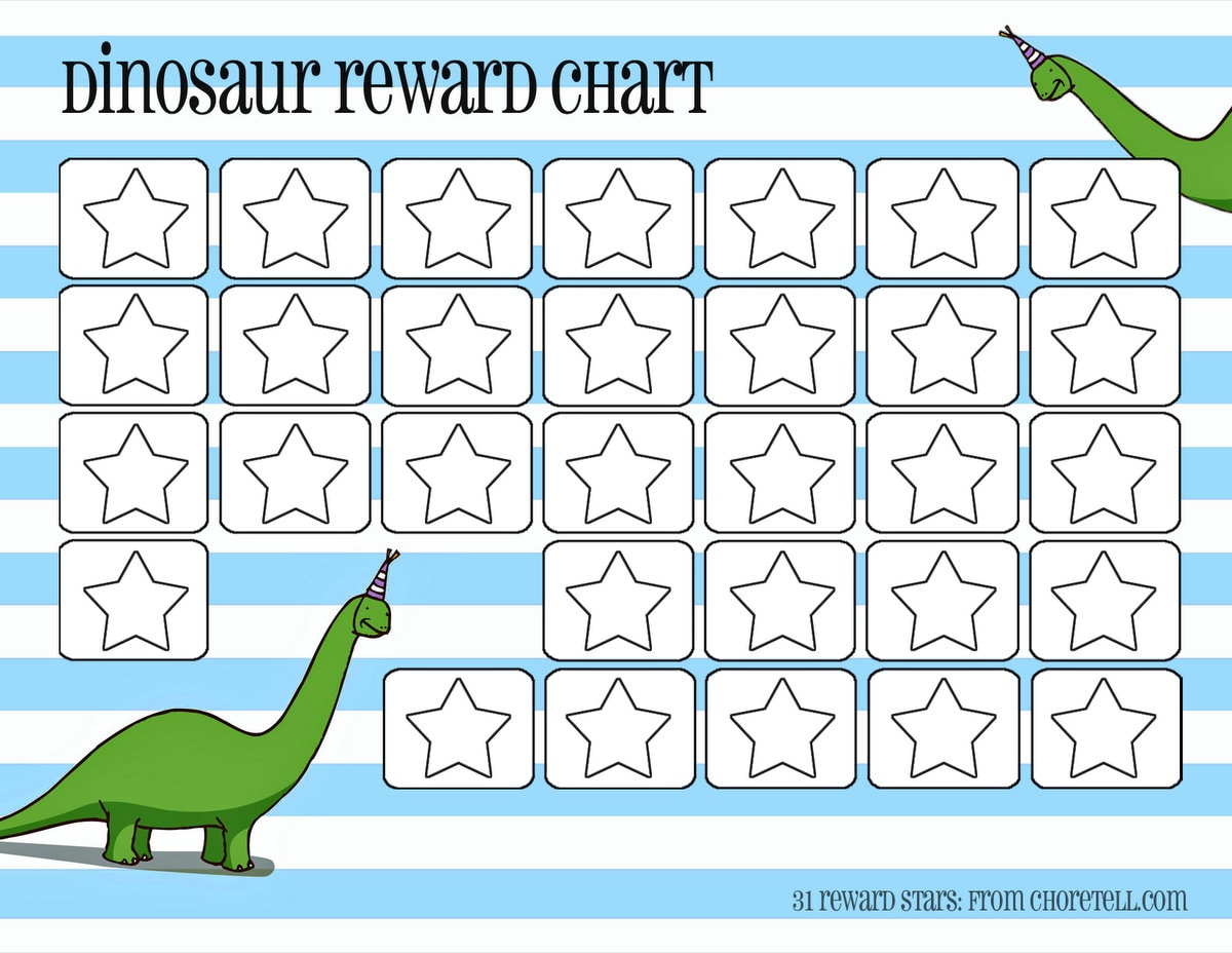 Dinosaur reward charts Pink blue – Free Reward Charts to Download