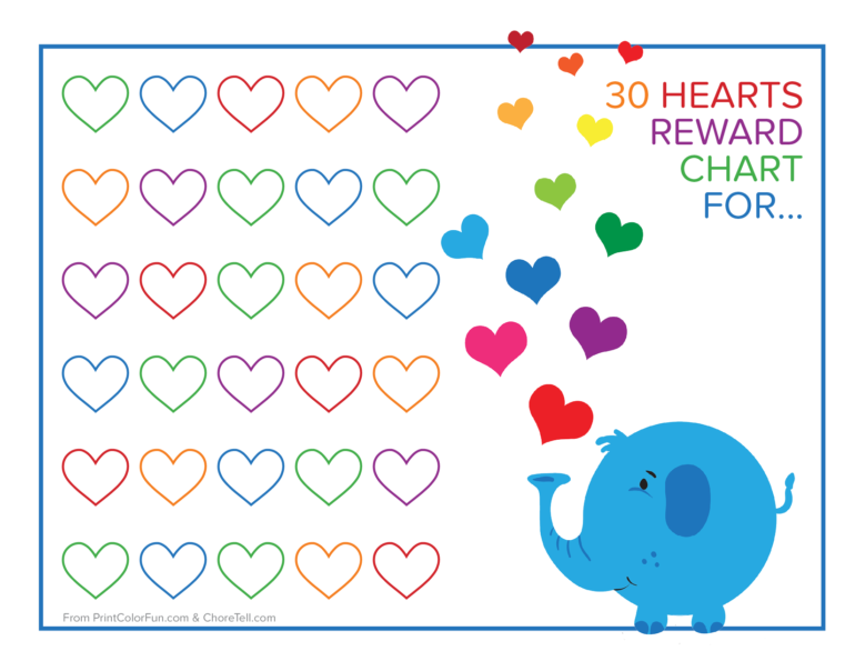 photo relating to Reward Chart Printable referred to as Elephant and rainbow hearts gain chart - Free of charge printable