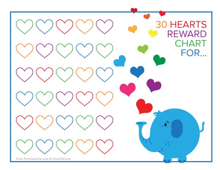 Elephant And Rainbow Hearts Reward Chart Free Printable