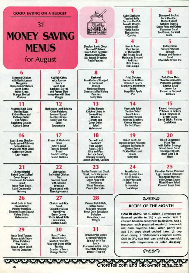 retro money-saving menus for august
