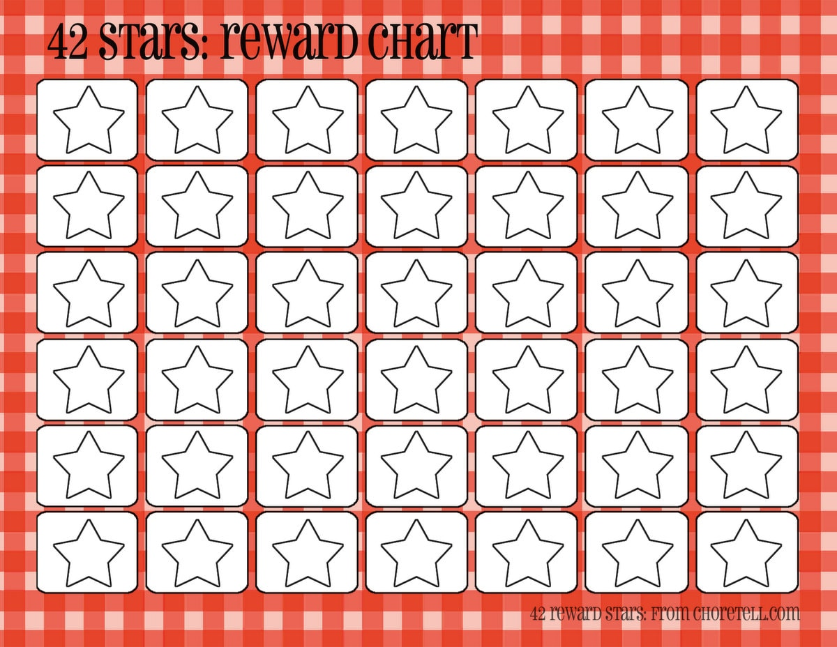 plaid reward charts  42 stars