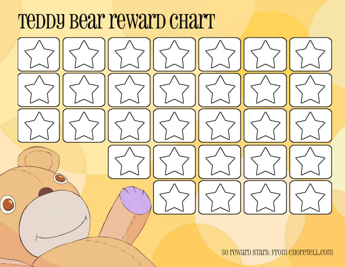 teddy bear reward chart printable s from choretell