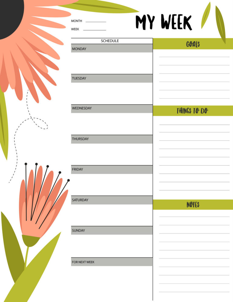 picture regarding Weekly Schedule Printable identify Floral \