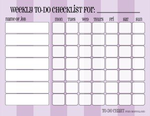 Patterned weekly to-do chore checklists