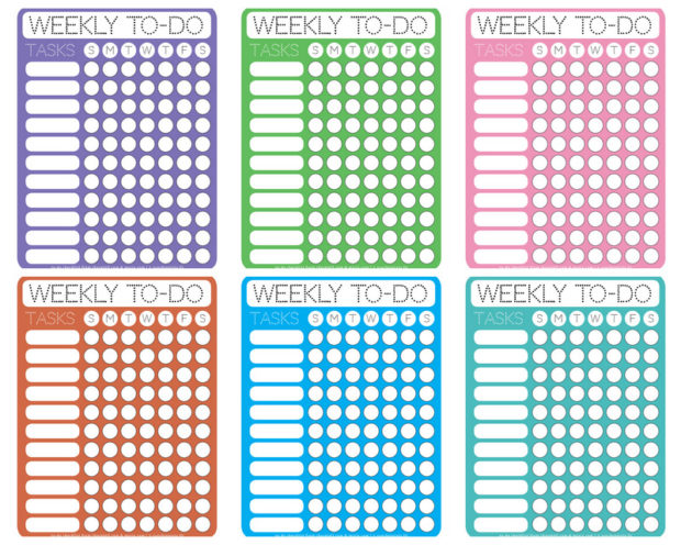 Dotty Printable Weekly ToDo Checklists  Free Printable Downloads
