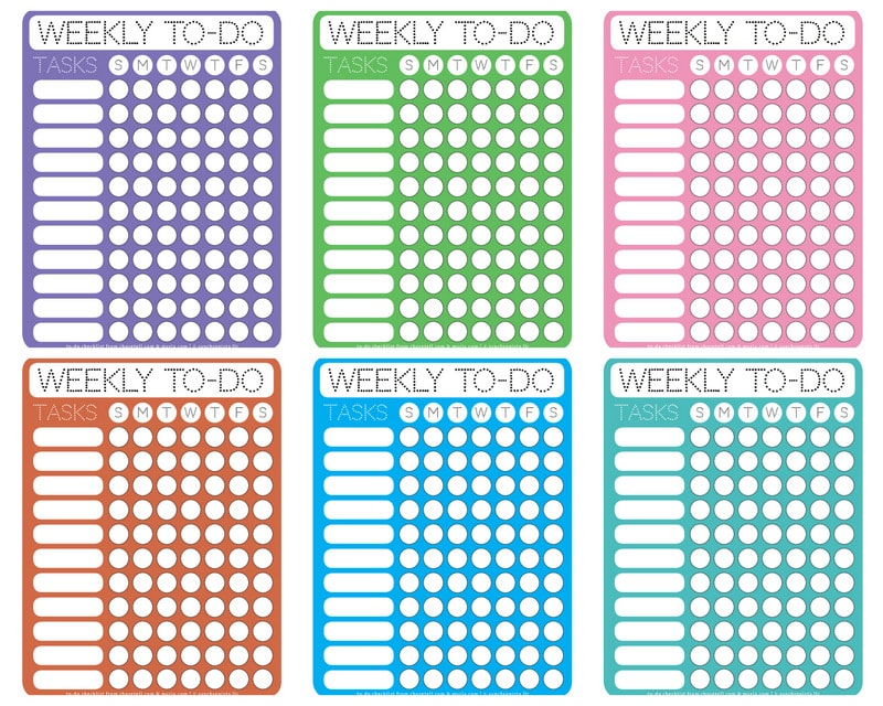 dotty printable weekly to-do checklists